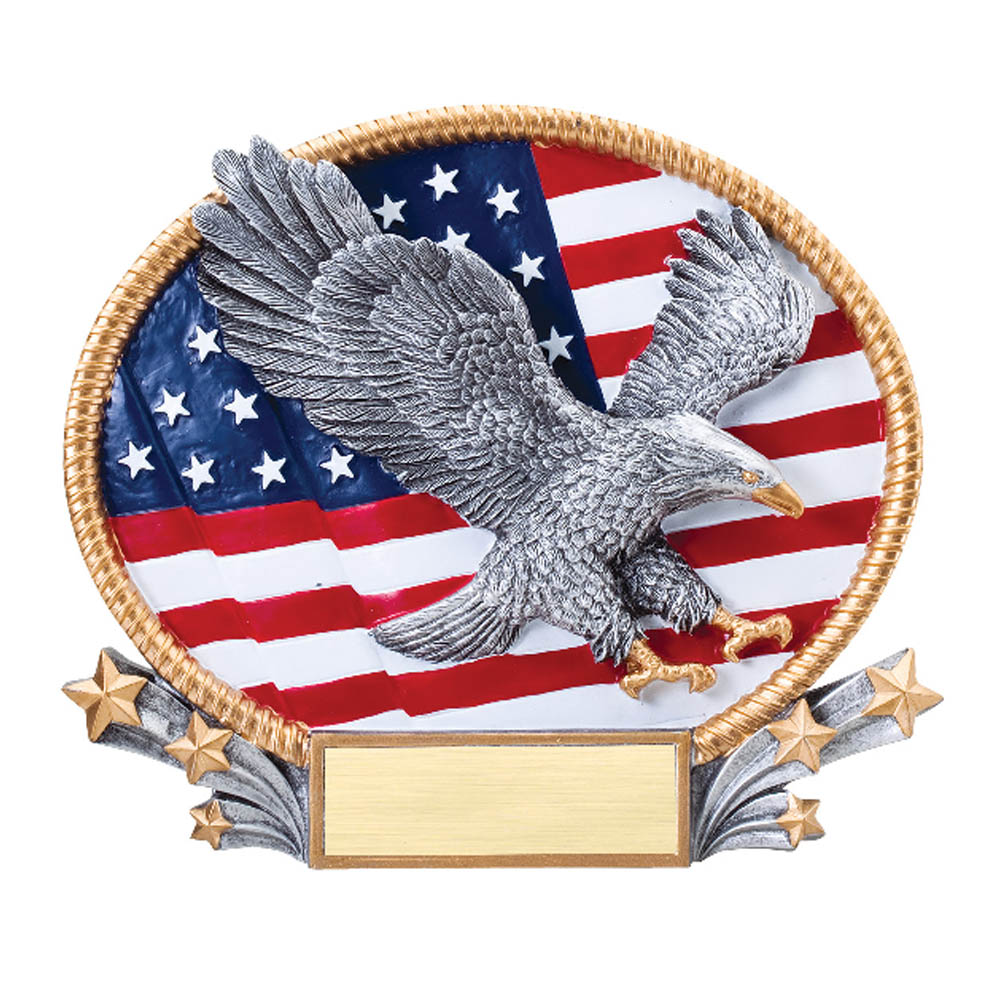 Oval Plate Resin Series American Flag Eagle I Love Trophies